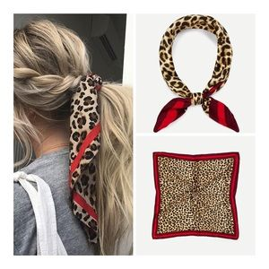 🆕 Red Leopard Square Hair / Neck / Purse Scarf